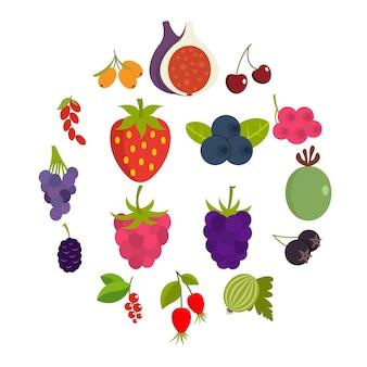 Набор иконок ягоды в плоском стиле