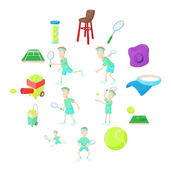 Набор иконок теннис, мультяшном стиле