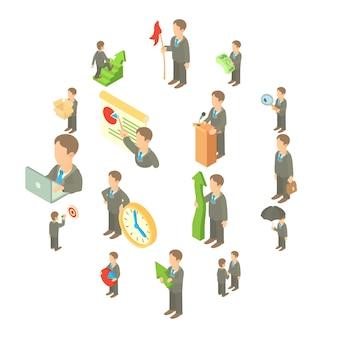 Набор бизнес иконок, мультяшном стиле