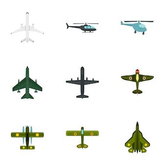 Набор иконок самолетов, плоский стиль
