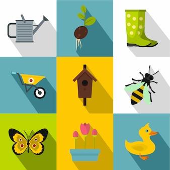 Садовый набор иконок, плоский стиль