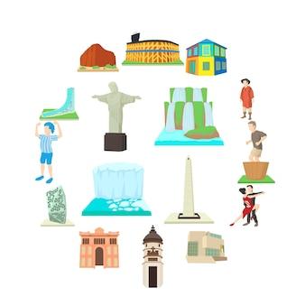 アルゼンチン旅行のアイコンセット、漫画のスタイル