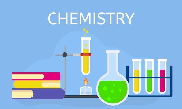 Концепция урока химии, плоский стиль