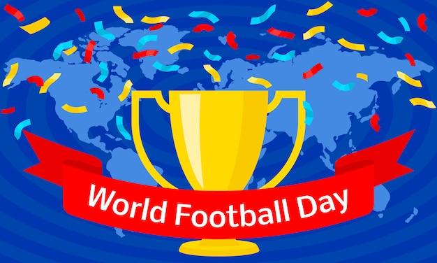 Глобальный футбольный день концепция, плоский стиль