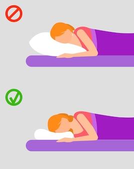 女性の睡眠位置、フラットスタイル