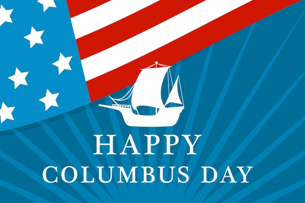 アメリカのコロンバスの日コンセプト、フラットスタイル