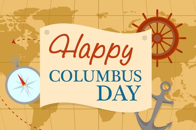世界地図コロンバスの日コンセプト、フラットスタイル