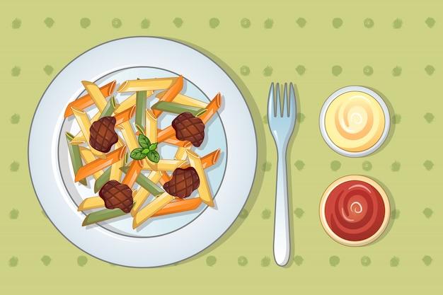 Итальянская вкусная паста в мультяшном стиле