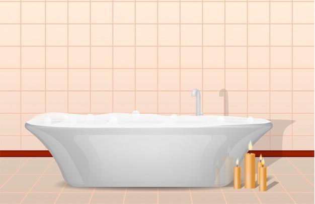 Концепция ванны и свечи, реалистичный стиль