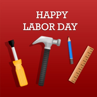 幸せな労働者の日コンセプト、リアルなスタイル