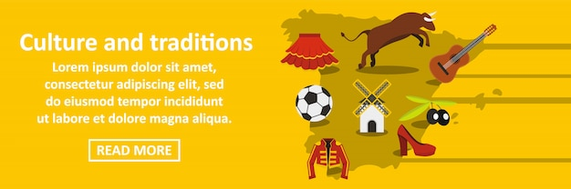 Культура и традиции испания баннер горизонтальная концепция