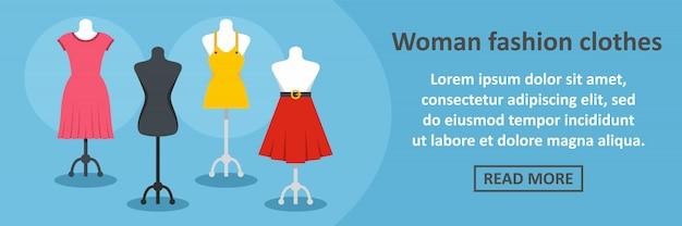 Женщина баннер модной одежды горизонтальная концепция