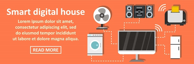 Умный цифровой дом баннер горизонтальная концепция
