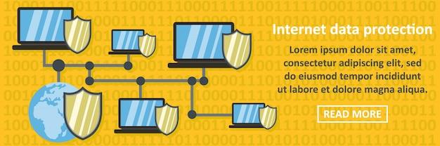 Горизонтальная концепция баннера защиты данных в интернете