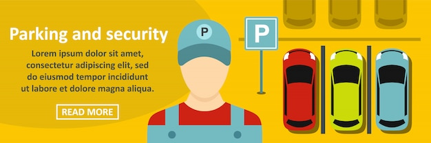 駐車場とセキュリティバナーの水平方向の概念