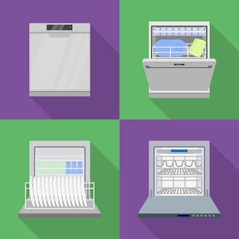 食器洗い機のアイコンセット、フラットスタイル