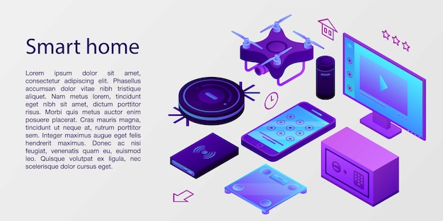 スマートホームコンセプトバナー、アイソメ図スタイル