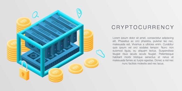 暗号通貨コンセプトバナー、アイソメ図スタイル