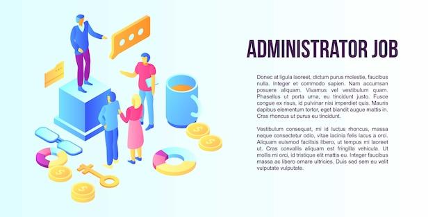Баннер концепция работы администратора, изометрический стиль
