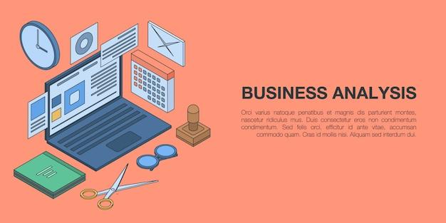 ビジネス分析概念バナー、アイソメ図スタイル