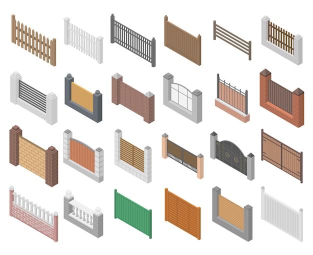 フェンスのアイコンセット、アイソメ図スタイル