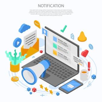通知メッセージコンセプトバナー、アイソメ図スタイル