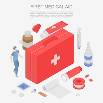 最初の医療援助概念バナー、アイソメ図スタイル