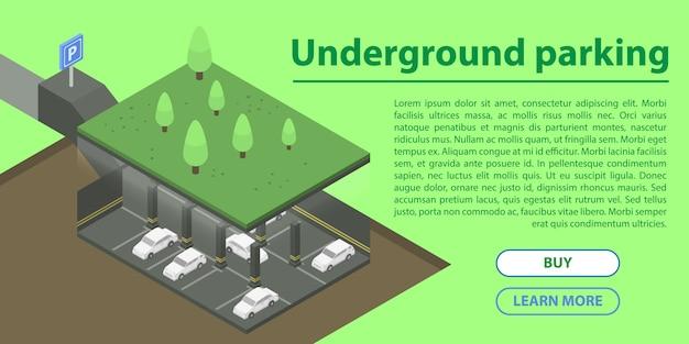 Подземная парковка концепции баннера, изометрический стиль