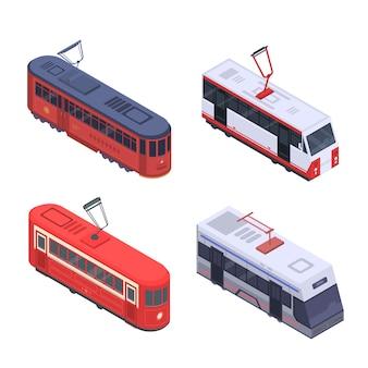 Трамвайный автомобиль значок набор. изометрические набор трамвайных автомобилей векторных иконок для веб-дизайна на белом фоне