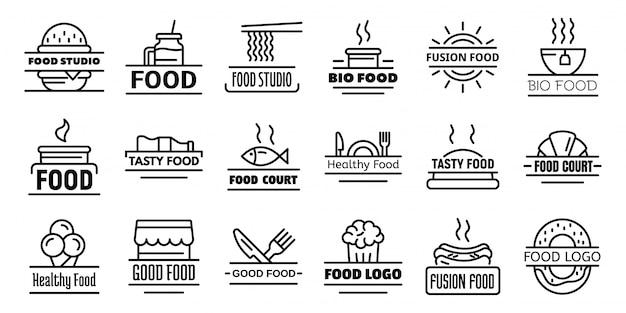 フードコート朝食ロゴセット、アウトラインスタイル