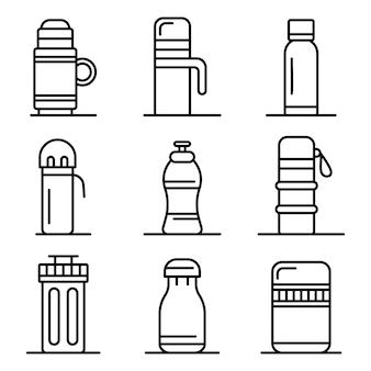 真空断熱水ボトルアイコンセット、アウトラインスタイル