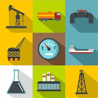 石油セット、フラットスタイル
