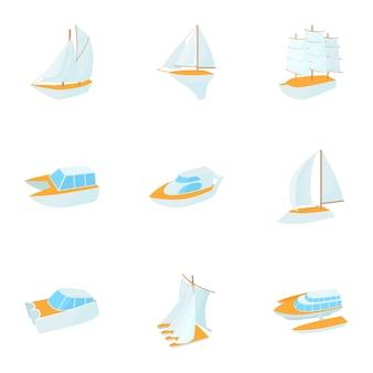 Набор яхт, мультяшный стиль