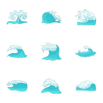 波セット、漫画のスタイル
