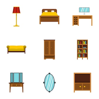家具セット、フラットスタイル