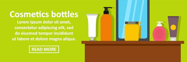 化粧品ボトルバナーテンプレート水平コンセプト