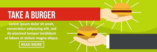 Возьмите шаблон баннера бургер горизонтальной концепции
