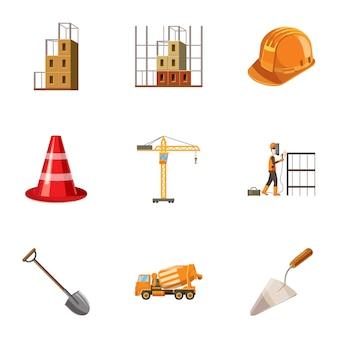 建設のアイコンセット、漫画のスタイル