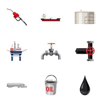 Набор иконок нефти, мультяшном стиле