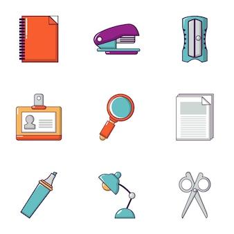 文房具のアイコンセット、フラットスタイル