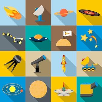 Установить космические иконки, плоский стиль