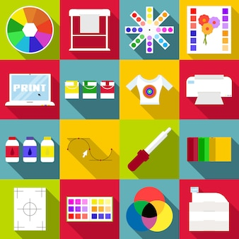 印刷アイテムのアイコンセット、フラットスタイル