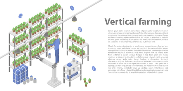 垂直農業コンセプトバナー、アイソメ図スタイル