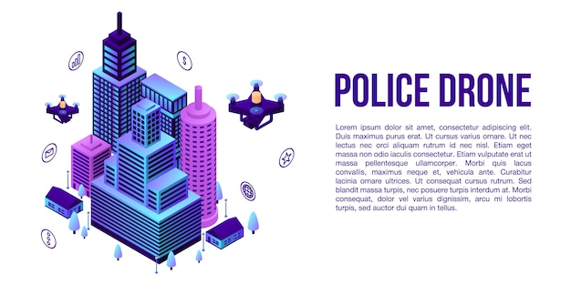 市警察ドローンコンセプトバナー、アイソメ図スタイル