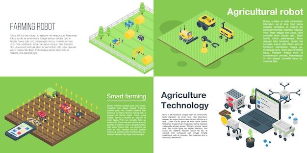 農業ロボットバナーセット、アイソメ図スタイル