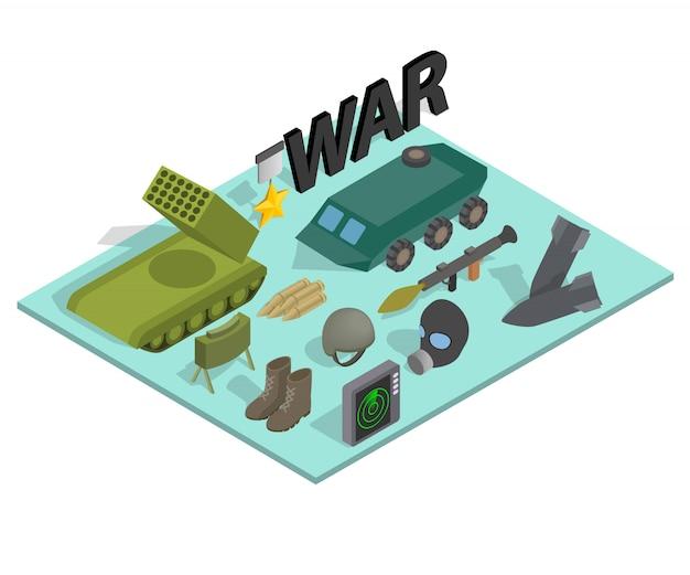 戦争方法概念バナー、アイソメ図スタイル