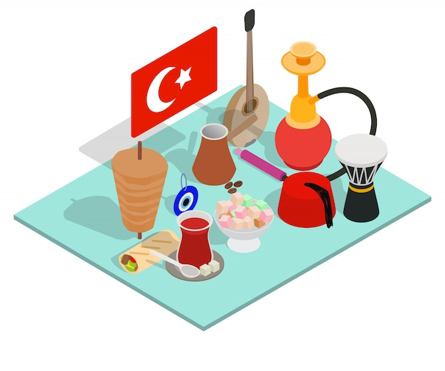 トルコのお茶コンセプトバナー、アイソメ図スタイル