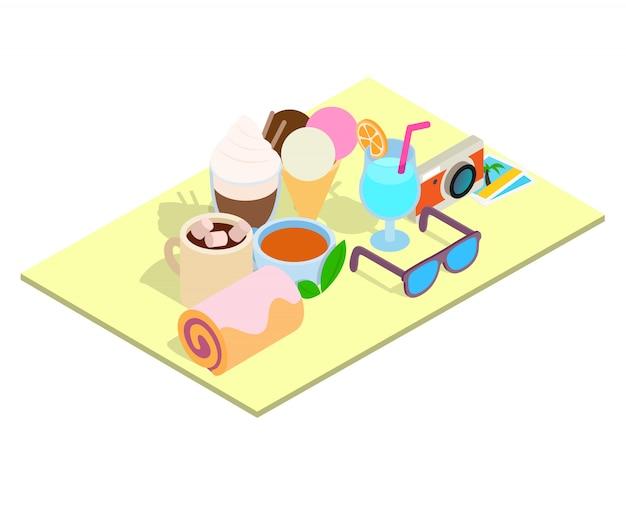 観光朝食コンセプトバナー、アイソメ図スタイル