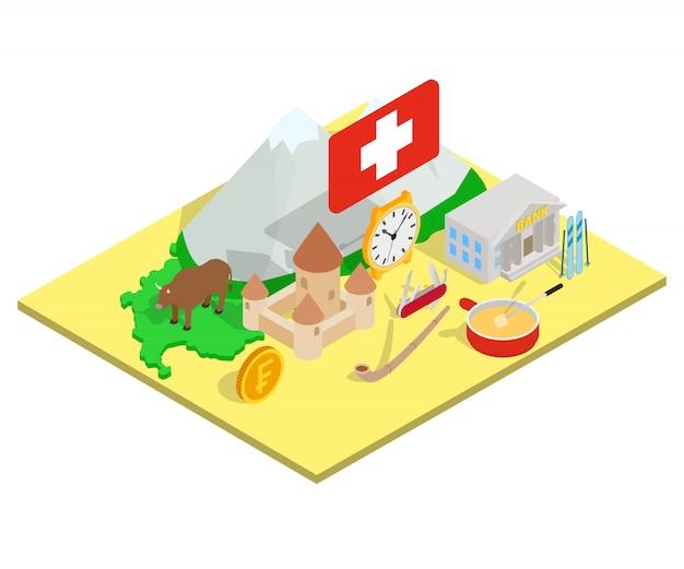スイスコンセプトバナー、アイソメ図スタイル