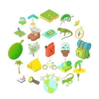 Туристический набор иконок, мультяшном стиле